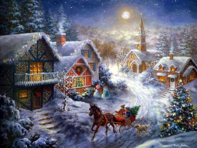 2013- Christmas Painting, Sleigh in Snowy Village