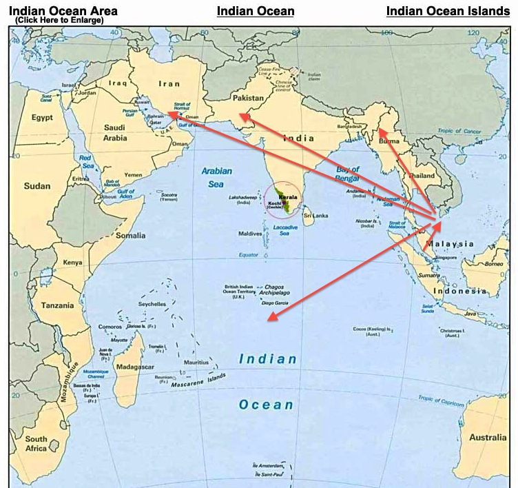 Indian Occean Map Flight 370 Possible Paths