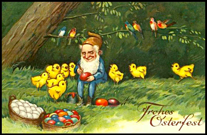 Happy Easter Old Man & Chicks, German Easter Card from-1898