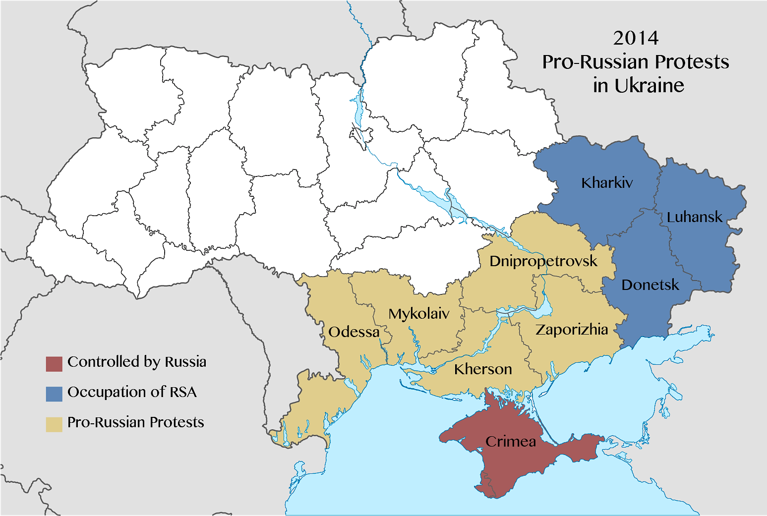 Ukraine Map-Pro-Russian Protests, Arp 2014