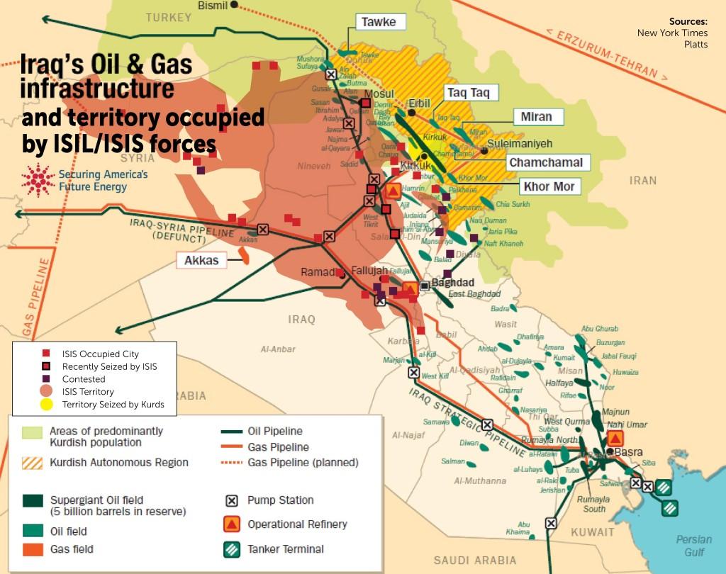 Iraq ISIS & Oil InfraStr. Map
