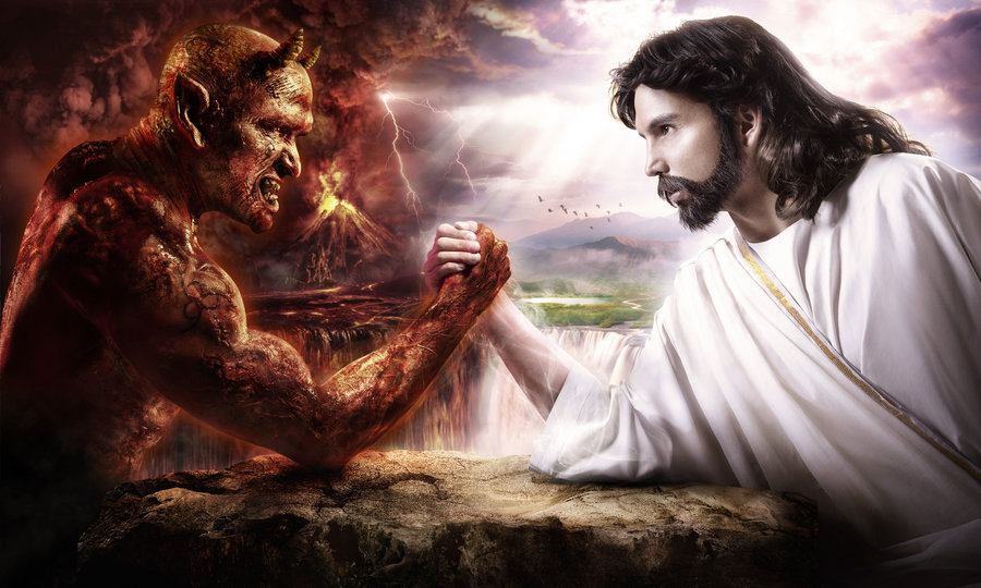 Devil & Jesus Arm Wrestling