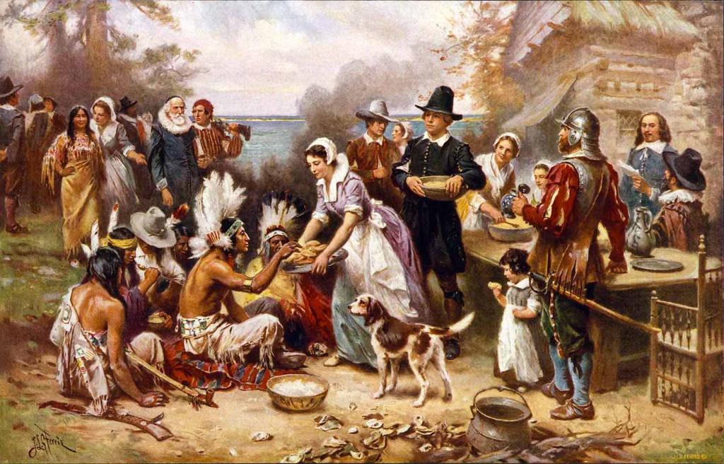 1st Thanksgiving w Pilgrams & Indians