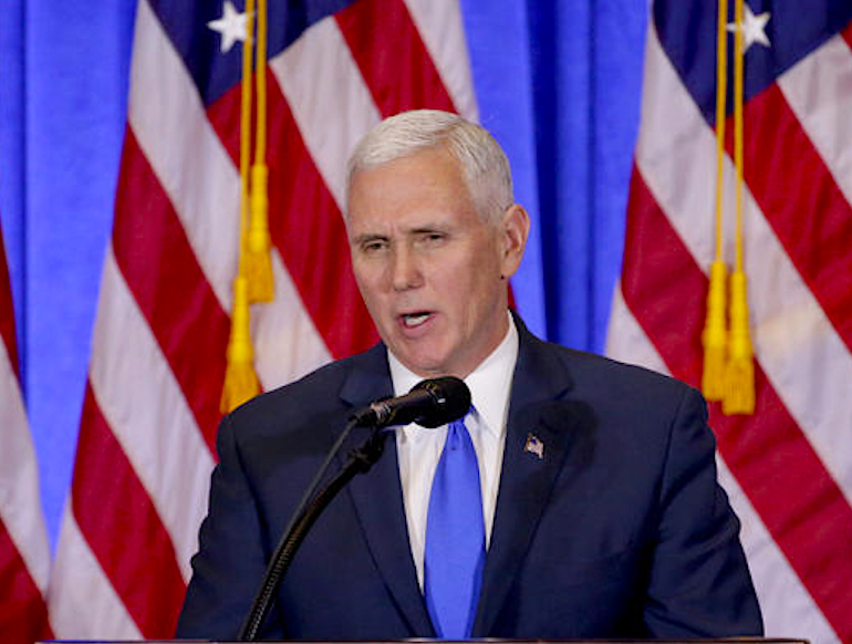 Vice President-elect Mike Pence speaks before introducing President-elect Donald Trump during a news conference, Wednesday, Jan. 11, 2017, in New York. The news conference was the first for Trump. (AP Photo/Seth Wenig)