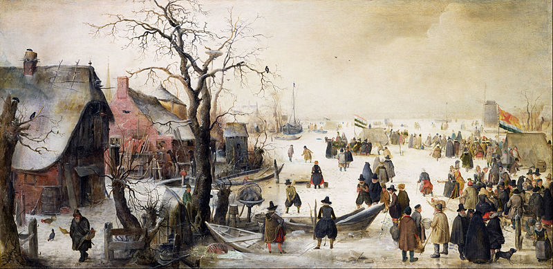 ** Old Fashioned Winter Scene on Canal, Lg