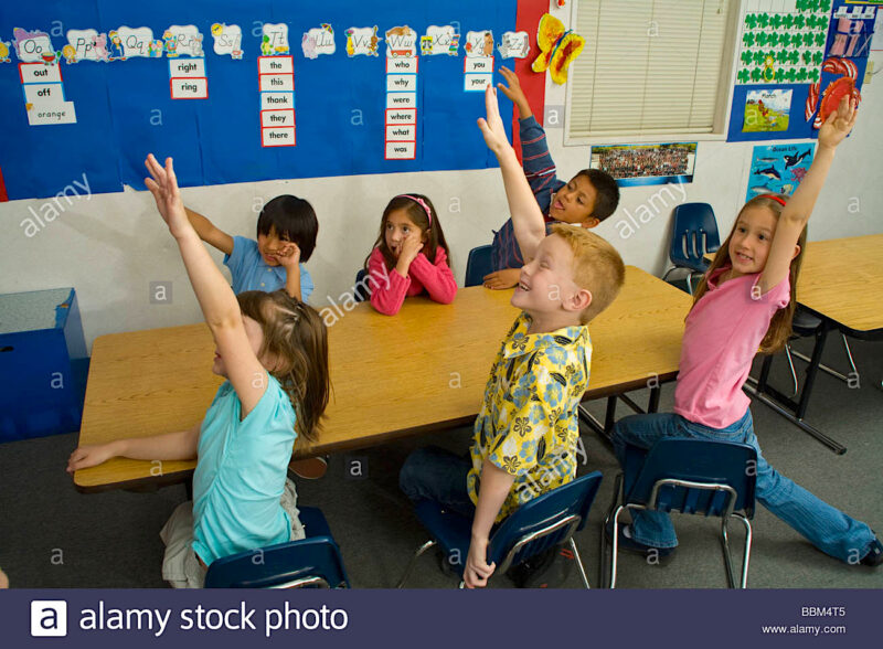 All Except 1 Kid raising their hands in class