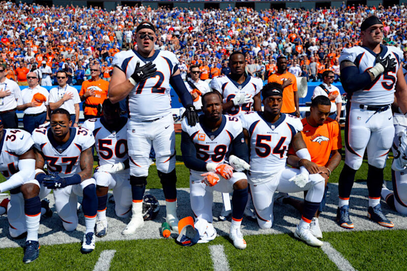 ORCHARD PARK, NY - SEPTEMBER 24: Denver Broncos team take a knee during the national anthem during their game against the Buffalo Bills on September 24, 2017 at New Era Field in Orchard Park, NY. (Photo by John Leyba/The Denver Post)